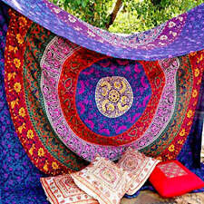 Indian Hippie Mandala Multi Color (240x220cms) Tapestry Wall Hanging Decor