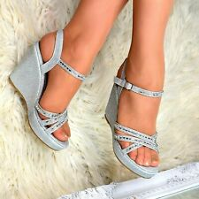 LADIES SILVER GLITTER SPARKLY DIAMANTE HIGH WEDGE STRAPPY PEEP TOE SHOES SIZE 8