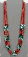 Turquoise with Coral Beads Silver Plate Findings Seven Strand Chunky Necklace