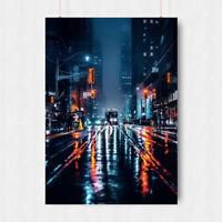 FUTURE CITYSCAPE NEON SCI FI LIGHT VEHICLE STREET SCENE ART PRINT POSTER BB8476