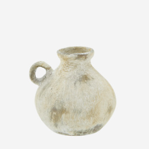 Small Cream Beige Washed Terracotta Vase w Handle, Rustic Urn for Dried Flowers