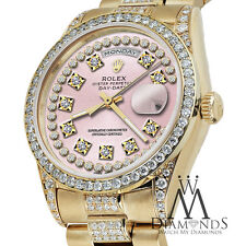 Rolex Presidential Day Date Vintage Pink Dial Diamond Watch 18KT Yellow Gold