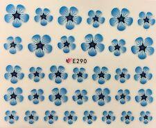 Nail Art 3D Decal Stickers Pretty Hawaiian Blue Flowers E290
