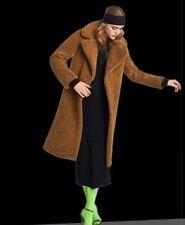 ZARA Faux Fur Teddy Coat Textured Shearling Camel Biscuit Long Coat Size XS
