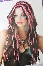 New Slick & Twisted Long Black Pink Braided Wig Goth Punk Rocker Rave Diva w7