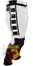Yamaha 6728 Black & White Armoured Cowhide Motorcycle Biker Leather Pant Trouser