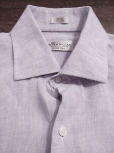 PETER MILLAR Crown Cool Button Front 100% LINEN Medium PURPLE MIX L/S Shirt