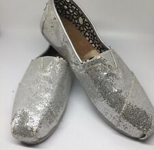 Toms Silver Metallic Sparkle Glitter Shoes Slip Ons Womens W 10