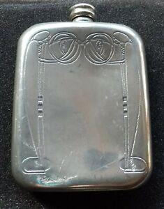 Charles Rennie Mackintosh Art Nouveau Pewter Hip Flask