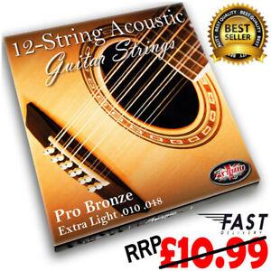 12 STRING Acoustic Guitar Strings Set Steel Bronze Extra Light RRP £10.99 ADAGIO