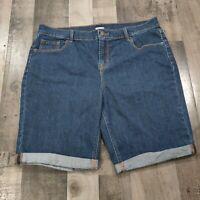 Old Navy Blue Denim Womens Size 14 Regular Solid Rolled Cuff Skimmer Jean Shorts