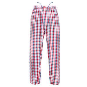 Ritzy Kids/Boys/Men Pajama Pants 100% Cotton Plaid Woven - RD, BL & WH Checks