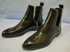 Zara Black Ankle Boots Studded Deep Cut Out Detail size EUR 39 UK 6