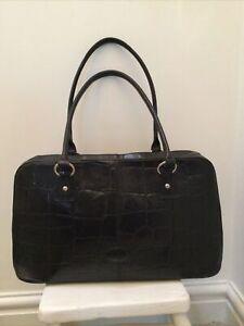 Genuine Vintage 'MULBERRY' Black Congo Leather Hellier Handbag