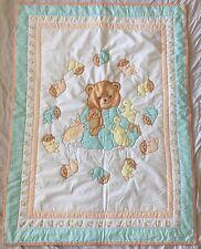 Handmade Sleepy Bear Bunny duck Baby Quilt Blanket green blue yellow neutral