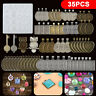 35PCS DIY Silicone Resin Mold Jewelry Casting Epoxy Pendant Tray Mould Craft Kit