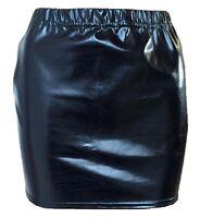 Metallic Hot Wet Look Shiny Ladies Women BLACK Sexy Mini Elasticated Skirt--HQ*