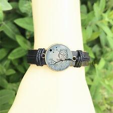 Owl woodland Owl Black Bangle 20 mm Glass Cabochon Leather Charm Bracelet