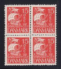 Denmark Sc 192 MNH. 1927 15o Ship, choice block of 4