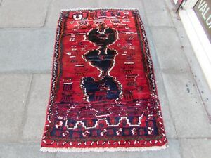 Vintage Traditional Hand Made Oriental Red Wool Gabbe Small Rug 154x92cm