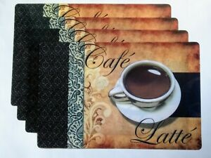 "4 Pc Coffee Cafe Latte Placemats 17-1/8"" x11.5"" Kitchen Table Home Decor"