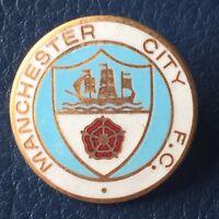 Vintage Manchester City FC metal enamel badge