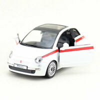 1:30 Fiat 500 Model Car Alloy Diecast Toy Vehicle Pull Back White Kids Gift