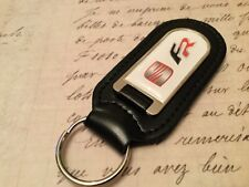 SEAT FR Black Real Leather Keyring  Printed resin coated