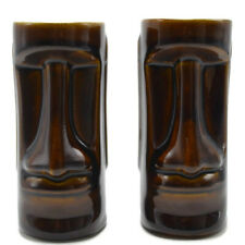 Vintage Daga Hawaii Moai 2 Tiki Mugs Easter Island Head Brown Glaze Plain