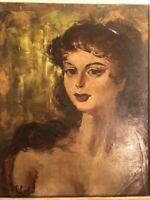 Tableau HUILE sur toile , signé ,Robert VAN CLEEF , cadre antique,, jeune femme