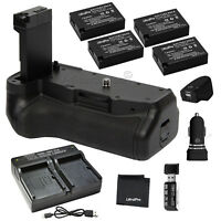 Battery Grip for Canon T7i, 77D+ 4x LP-E17 Battery + AC/DC USB Dual Charger