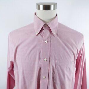 Brooks Brothers Mens Stretch No Iron Slim Fit LS Button Orange Plaid Shirt 16.5