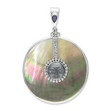 Offerings Sajen 925 Sterling Silver Hematite Goddess Pendant with Shell & Iolite