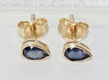 9ct Gold 0.50ct Blue Sapphire Pear Cut Ladies Stud Earrings - Gift Boxed