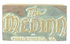 Vintage Printing Slug Block Stamp The Medina Charlottesville Virginia