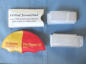 Vintage 2 Plastic Rain Caps Bonnets Hoods  Jeremiah Weed Bourbon & Flu-Imune NOS