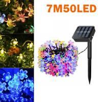 50LED Solar Powered Garden Outdoor Fairy String Flower Lights Yard Tree Lamp7M