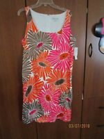 New Andre Oliver Sleeveless Dress Sz 14 Gerber Daisy Print Bust 42 Length 40 in