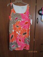 New Andre Oliver Sleeveless Dress Sz 14 Gerber Daisy Print Bust 42 Length 40 in