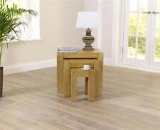 Provence solid chunky oak living room furniture nest of 3 tables