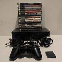 Sony PlayStation 2 PS2 Console Bundle Fat Black W/ Controller 15 Game All Cables
