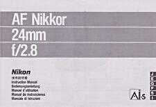 Genuine originale Obiettivo Fotocamera Nikon manuale di istruzioni NIKKOR AF 24mm F/2.8