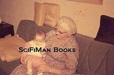 35mm Vintage Slide Woman Grandmother Glasses Dress Holding Baby Sofa 1968 L@@K!