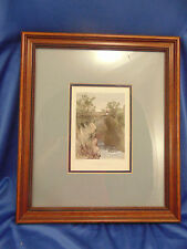 Vtg Framed colored lithograph picture On The River Mawddach matted art print