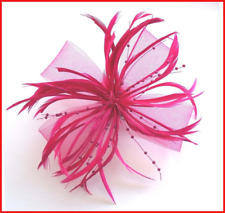 HOT PINK TULLE SILK And FEATHER GRIP PIN FASCINATOR Weddings Races Party