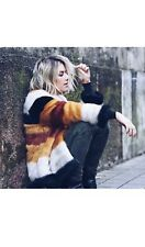 Zara Faux Fur Coat With Multicoloured Stripes Size XS