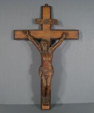 CHRIST ANCIEN EN BOIS SCULPTÉ / SCULPTURE CHRIST XIXème SIÈCLE / CRUCIFIX ANCIEN