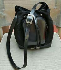 ICE ICEBERG Drawstring Shoulder Bag Black NYLON & LEATHER L11 X W14x7D Italy
