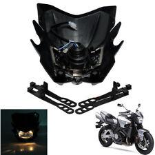 1x Black Street Motorcycle Headlight Kit 12V H4 Bulb Universal Custom w/ Bracket