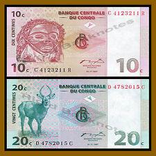 Congo D.R 10 20 Centimes Set, 1997 Unc